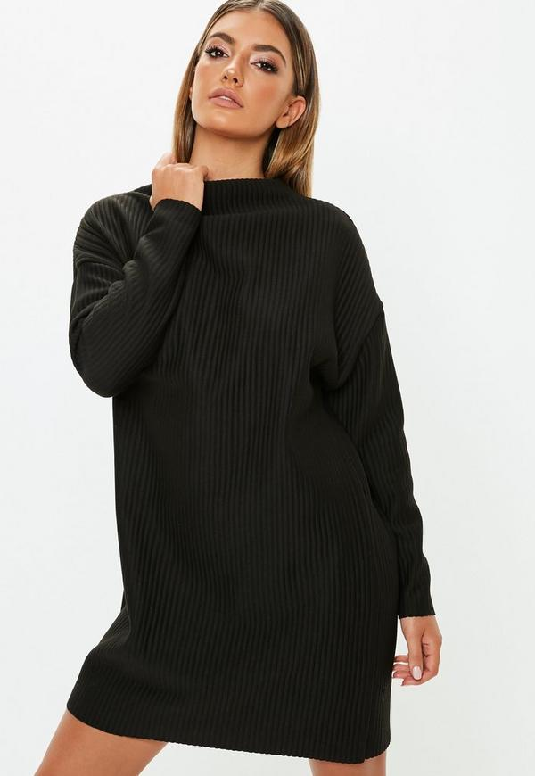 Petite Black Oversized Ribbed Sweater Dress Missguided