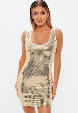 302bcc5a69 Czarna mocno zdobiona zawijana sukienka premium · Petite Złota cekinowa sukienka  mini na ramiączkach