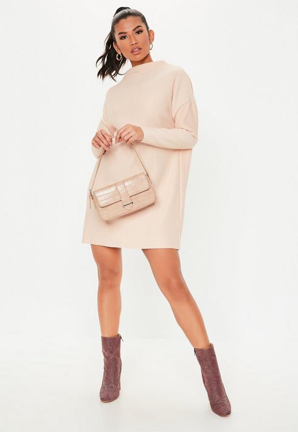 6067ddd39e9d ... Petite Blush Oversized Ribbed Sweater Dress. Previous Next
