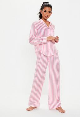 bed94e8ceda9d Petite Pink Satin Stripe Trouser Pyjama Set