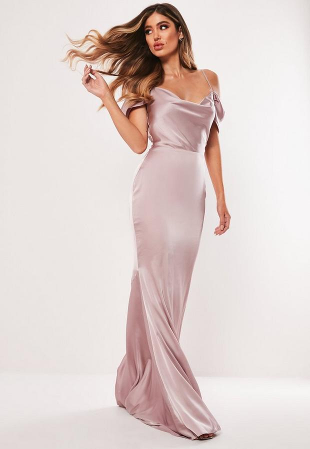 petite bridesmaid mauve satin cowl cold shoulder maxi dress