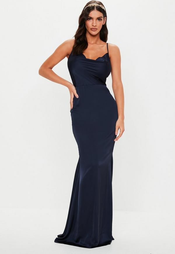 Petite Bridesmaid Navy Satin Cowl Maxi Dress by Missguided