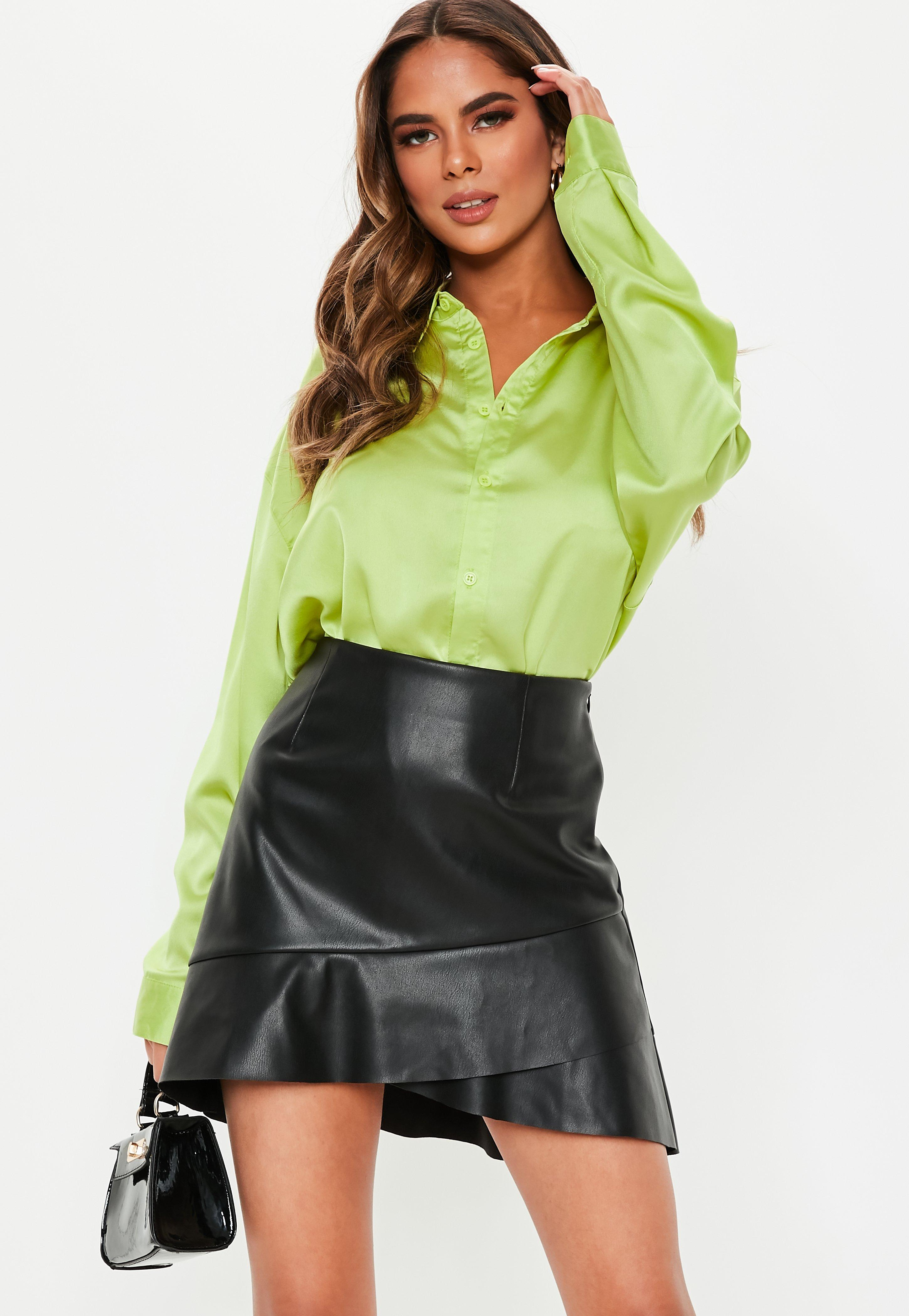 f95169293d Petite Black Faux Leather Frill Hem Mini Skirt | Missguided