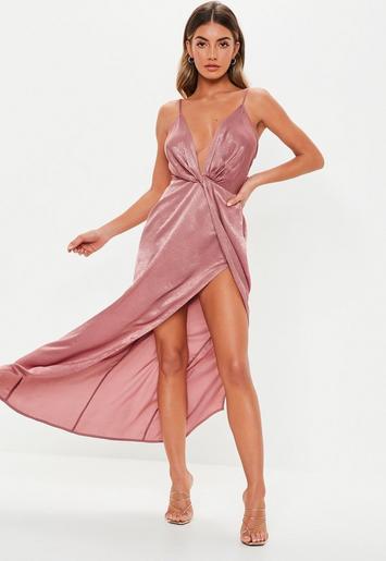 Petite Blush Satin Twist Cami Maxi Dress Missguided