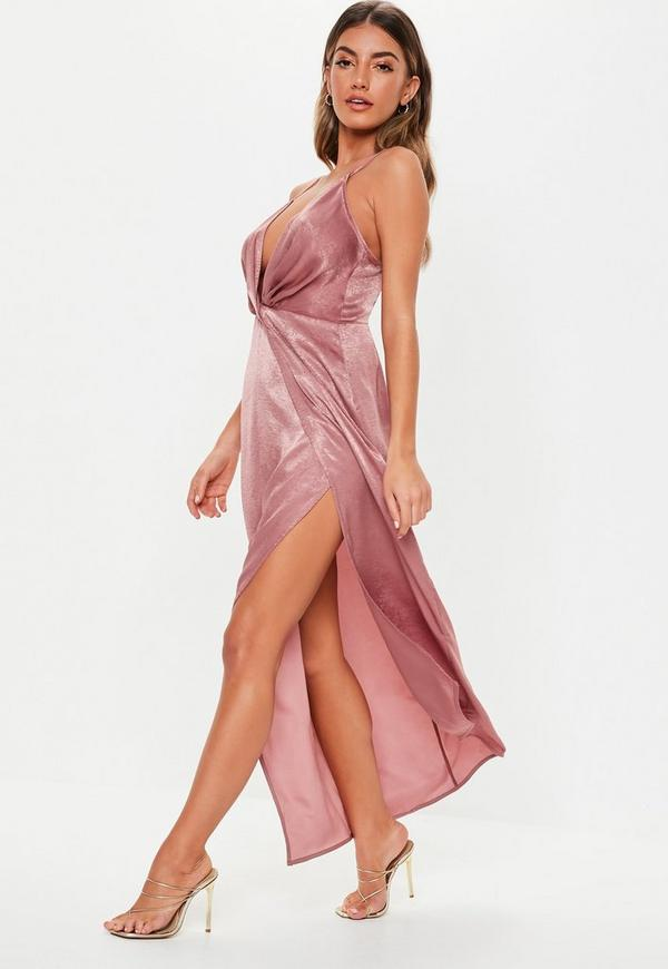 17cf775501 Petite Blush Satin Twist Cami Maxi Dress