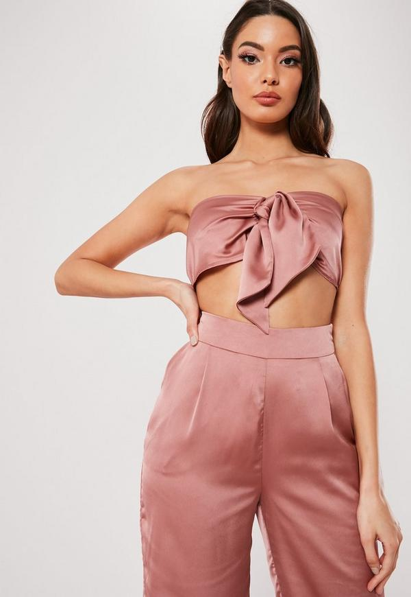 Petite Blush Satin Tie Front Co ord Top