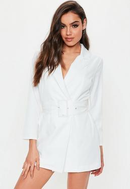 24409440fa28 Petite White Belted Blazer Dress