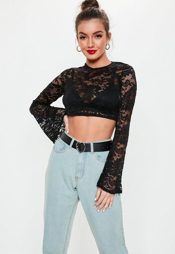d45bd2c8a19d1 Petite Black Lace Flare Sleeve Crop Top