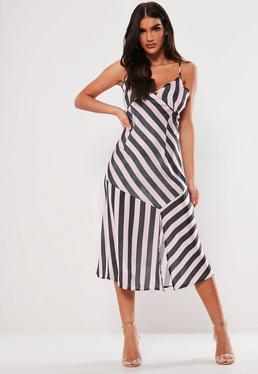 Black Split Leg Maxi Dress  Petite Pink Stripe Satin Cami Maxi Dress a6805528413e
