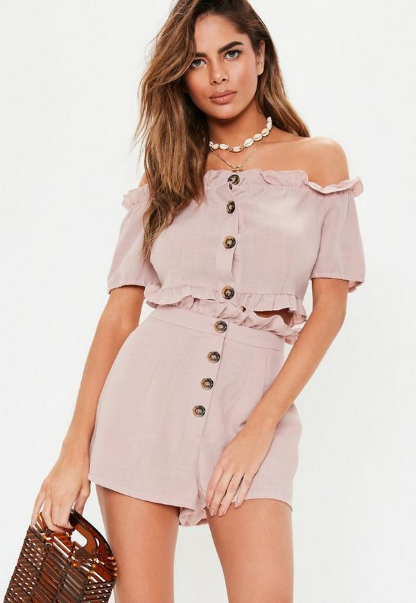 Petite Pink Horn Button Frill Co-Ord Crop Top