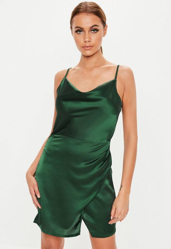 Petite Green Satin Cowl Wrap Mini Dress Missguided