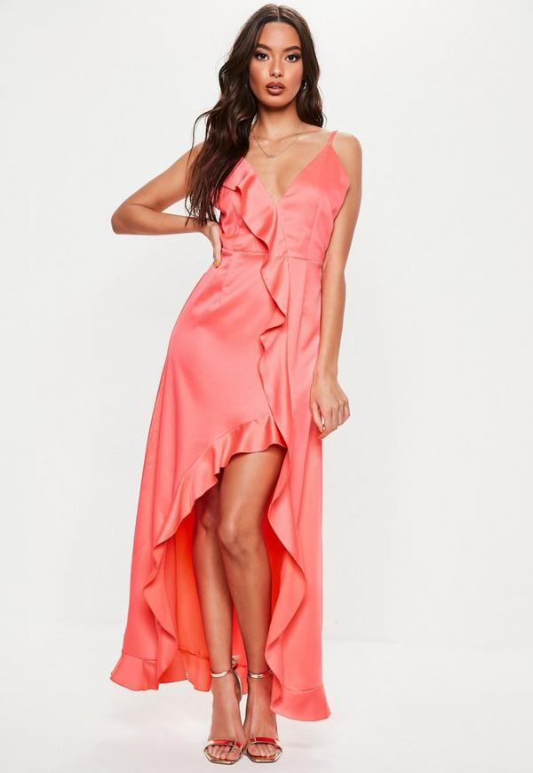 Petite Coral Frill Detail Maxi Dress  Missguided Ireland-3963