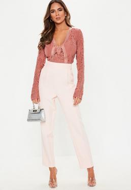3444ee6563516 Petite Pink Long Sleeve Sports Tape Bodysuit