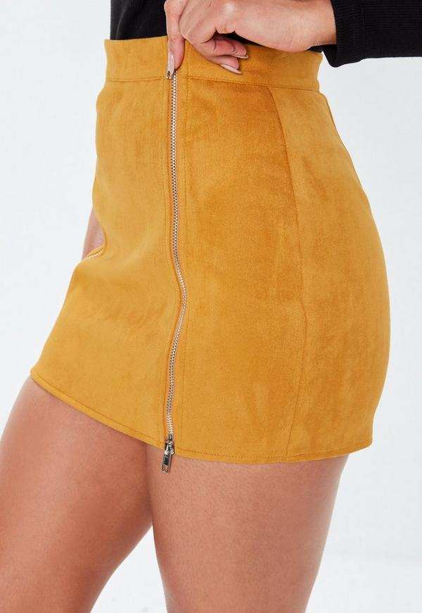 207b88b104c Petite Mustard Faux Suede Mini Skirt. Previous Next