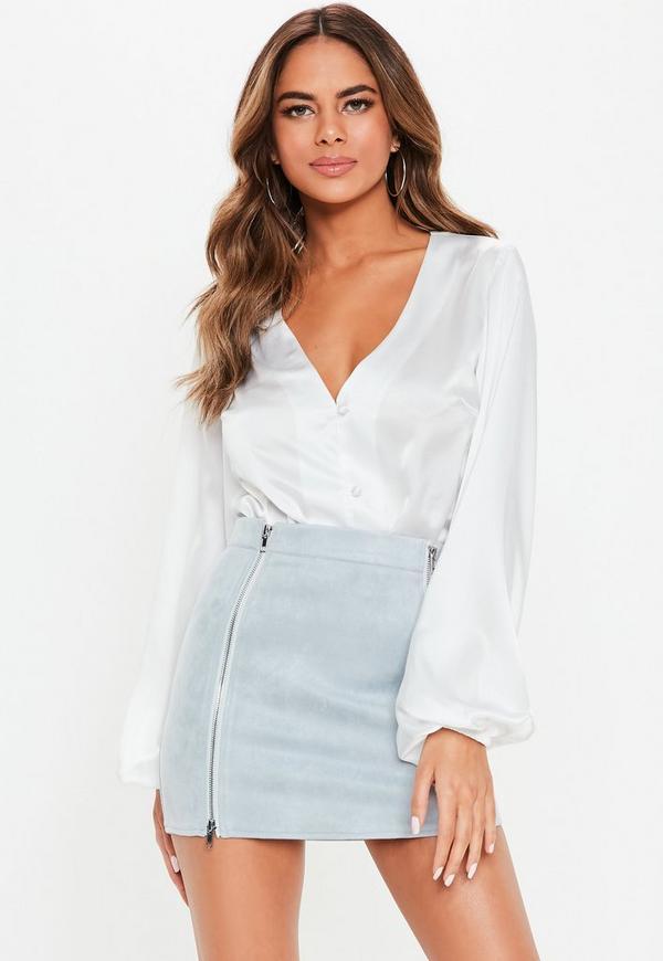 Petite Blue Faux Suede Mini Skirt