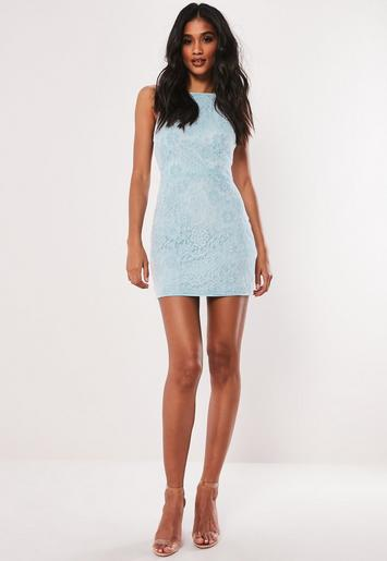 Petite Blue Lace Square Neck Mini Dress by Missguided