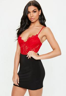 Red Strappy Non-Wired Lace Cupped Panel Bodysuit 4ab9c7d10