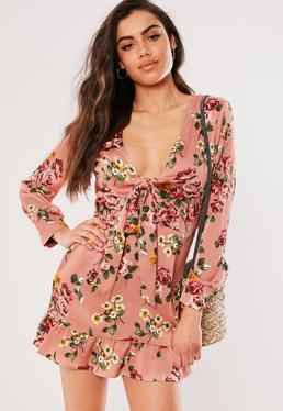 ab8df12399 ... Petite Pink Floral Print Skater Dress
