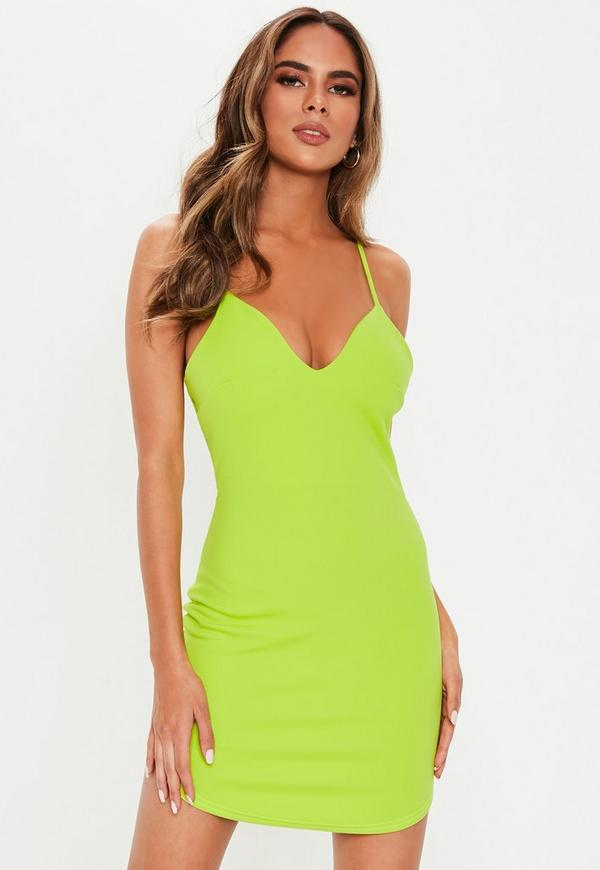 4596acd4216d Petite Neon Green Strappy Plunge Bodycon Dress