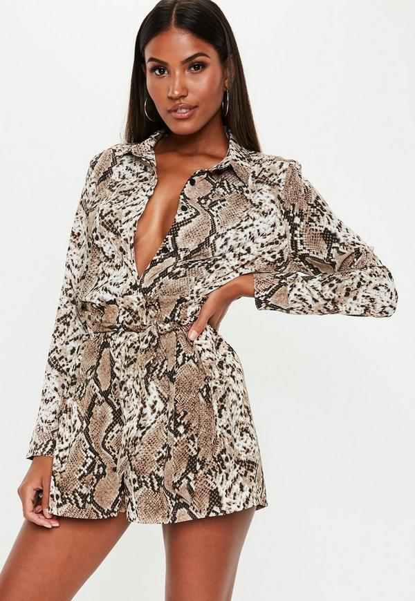 Petite Brown Snake Print Satin Shirt by Missguided