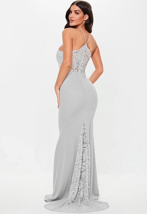 Petite Bridesmaid Grey Scallop Trim Maxi Dress Missguided