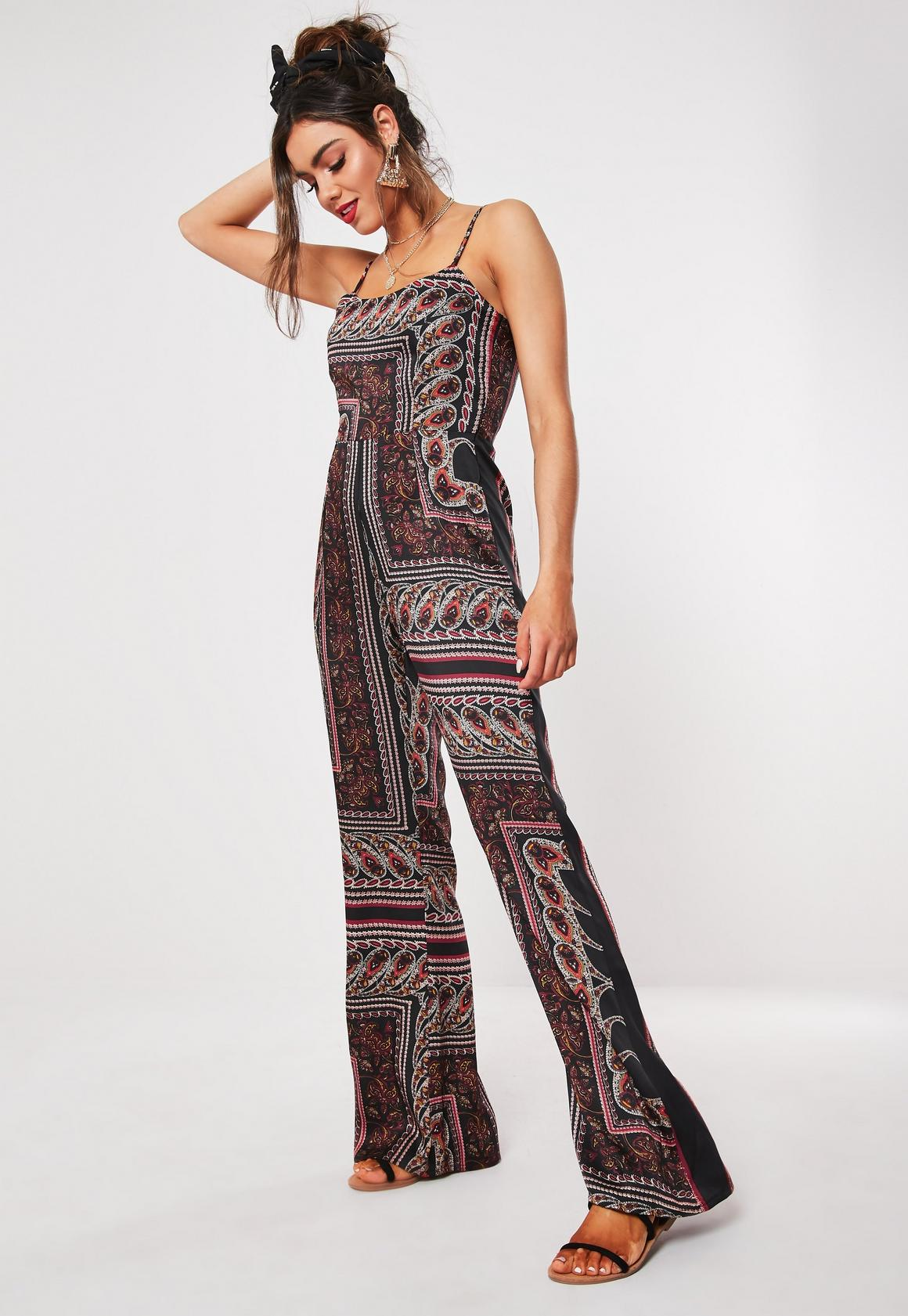 7b8427f4226 Petite Black Paisley Print Strappy Jumpsuit. Hover to Zoom