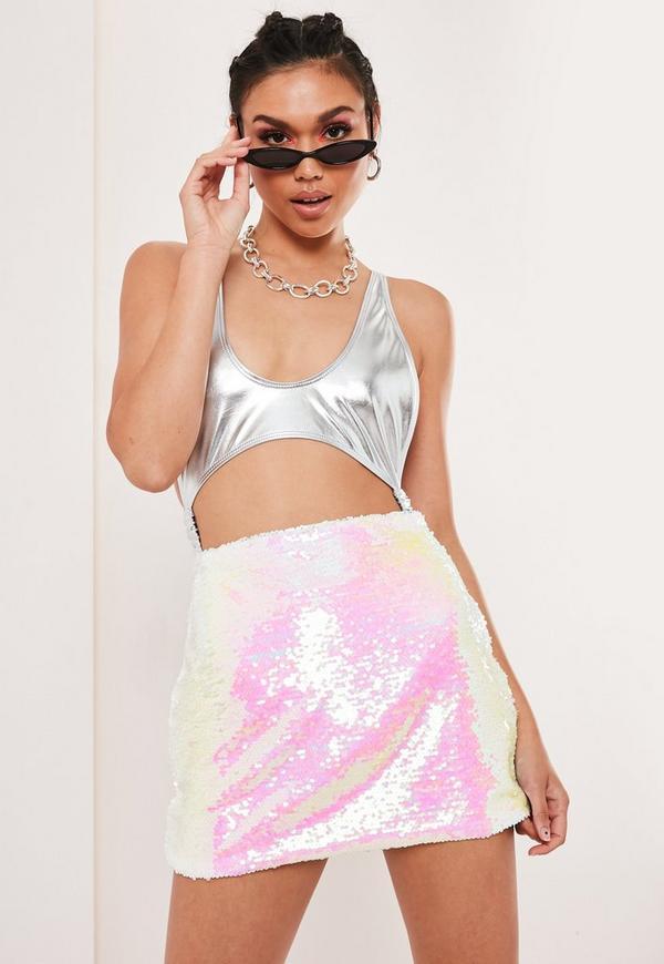 Petite White 2 Way Sequin Mini Skirt