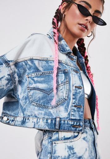 Petite Light Blue Co Ord Bleach Oversized Crop Denim Jacket by Missguided