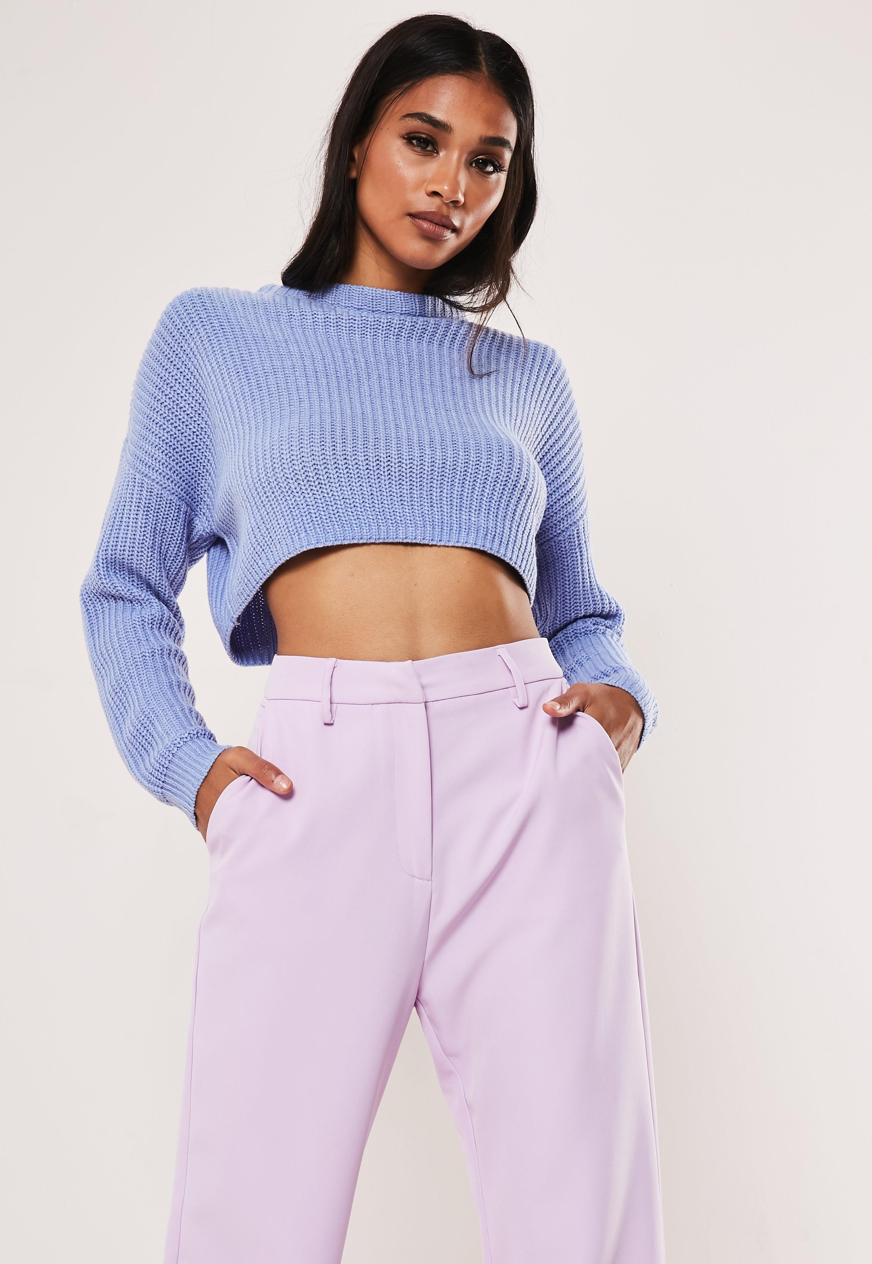 e9a2ad9fcfb Petite Blue Super Crop Knitted Jumper