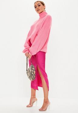Миниатюрная юбка миди с розовым атлас