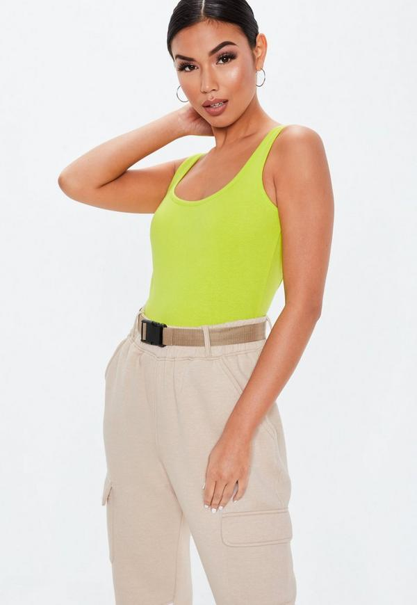 Petite Neon Lime Square Neck Cotton Jersey Bodysuit
