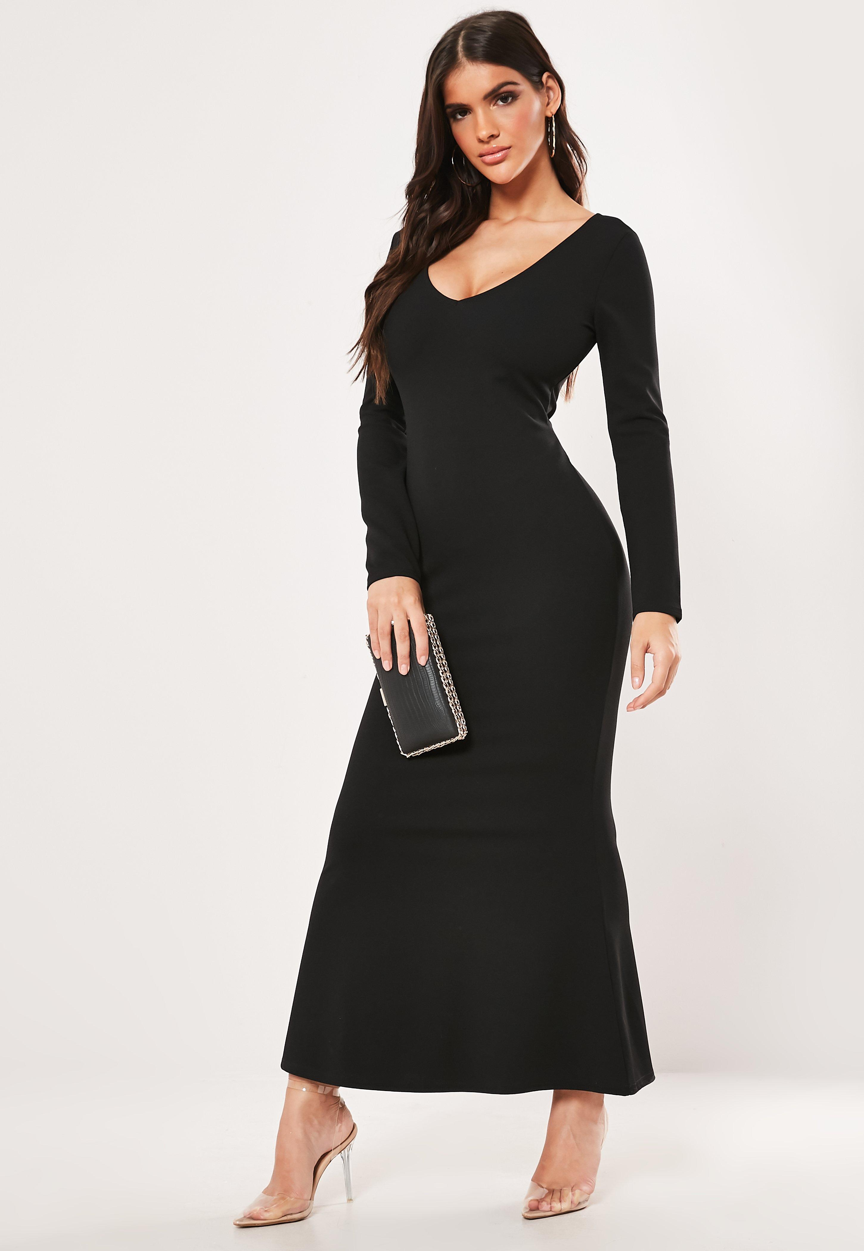 c47cb873d Petite Black Long Sleeve Cross Back Maxi Dress