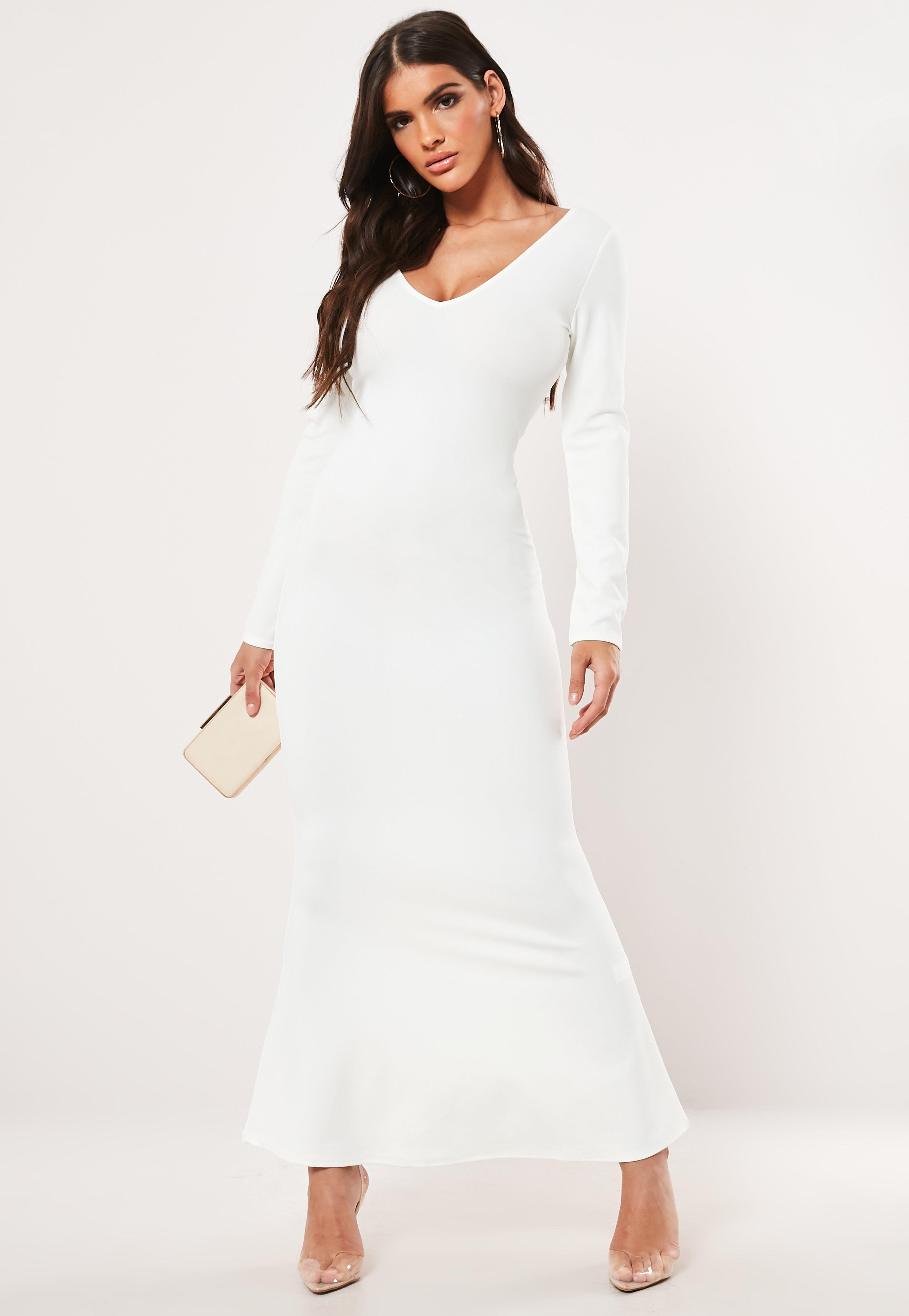 376dbbcfd682 Long Sleeve Open Back Maxi Dress White Missguided - raveitsafe