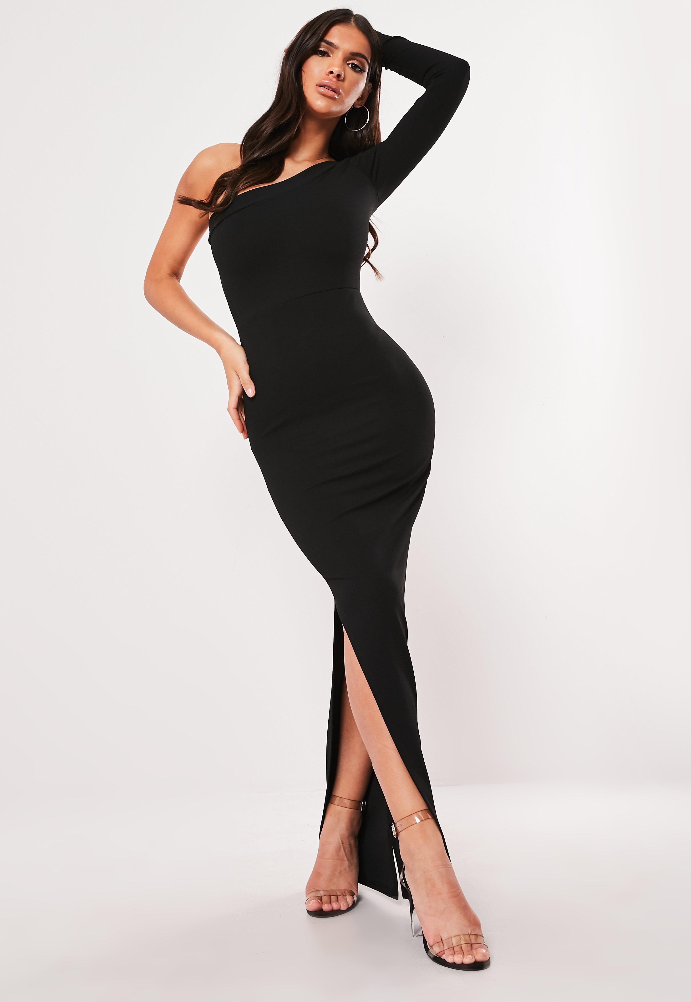 6f9b856de3c9 Petite Black One Shoulder Side Split Maxi Dress | Missguided