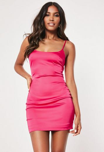 Petite Hot Pink Satin Slip Dress Missguided