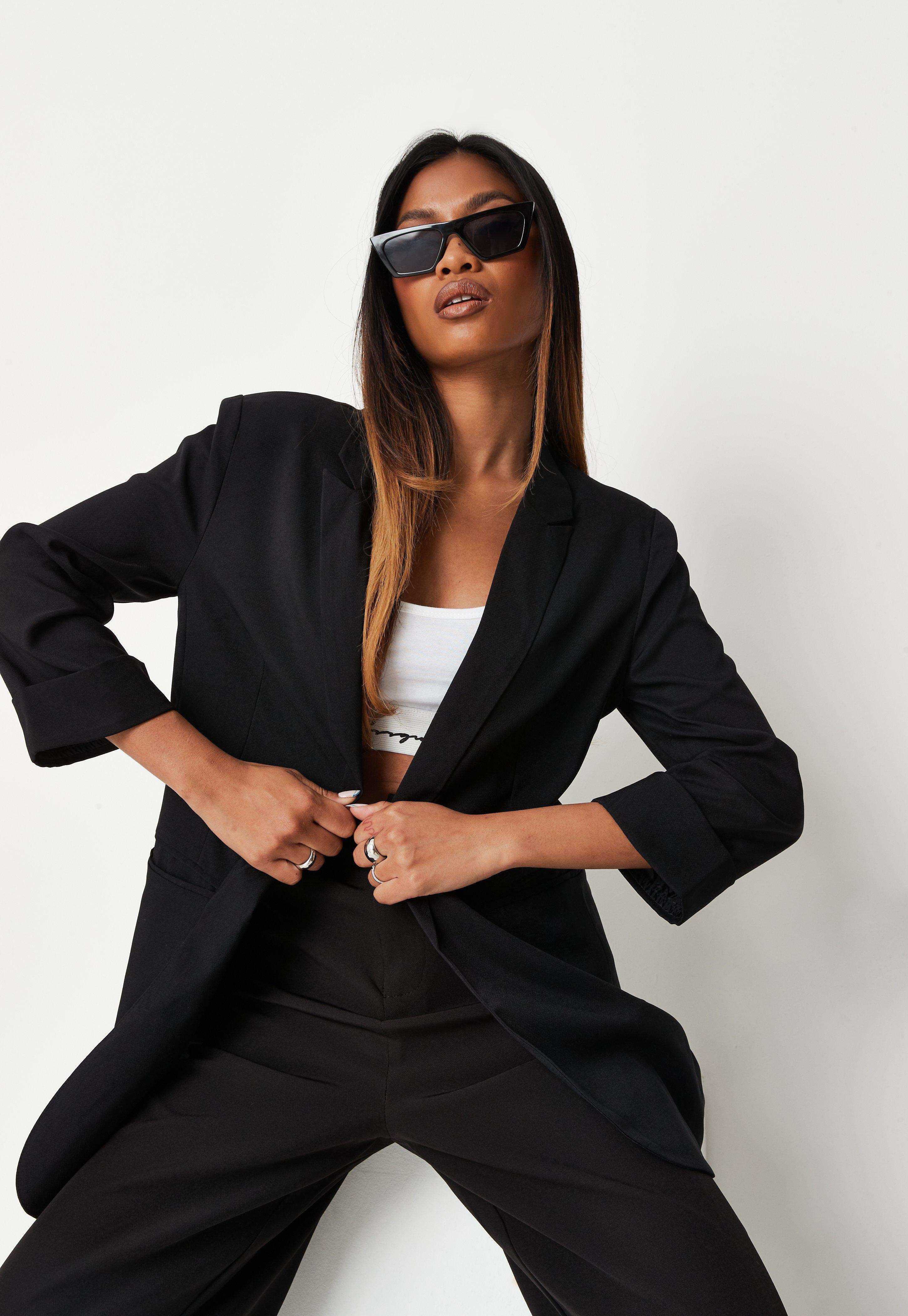 Petite Black Co Ord Boyfriend Blazer by Missguided