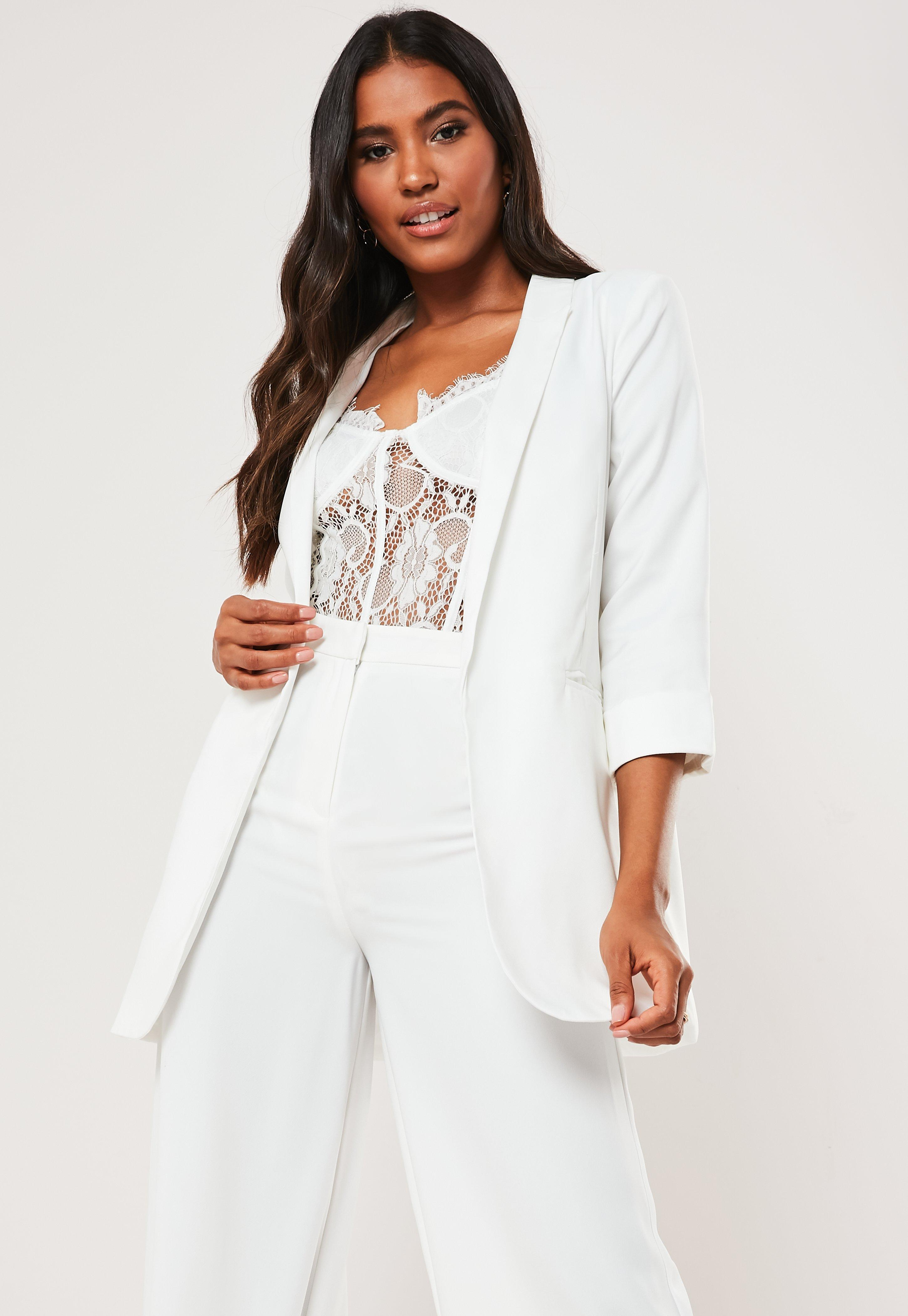 Petite White Co Ord Boyfriend Blazer by Missguided