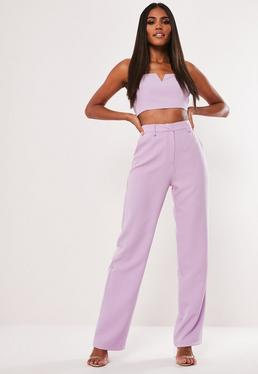 Брюки Petite Lilac Co Ord с прямыми ногами
