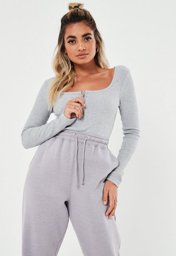 Petite Gray Zip Front Scoop Bodysuit