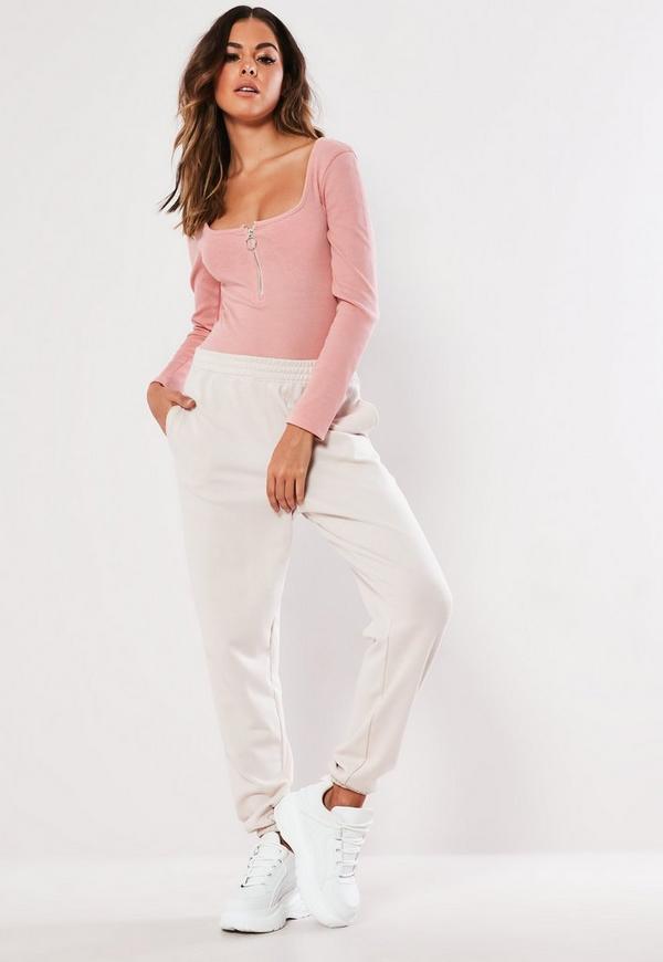 Petite Pink Rib Zip Front Bodysuit