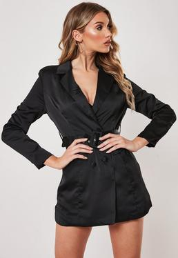 d14c321ebc ... Petite Black Satin Blazer Dress