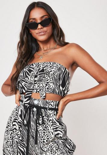 Petite Black Co Ord Zebra Print Bandeau Top by Missguided