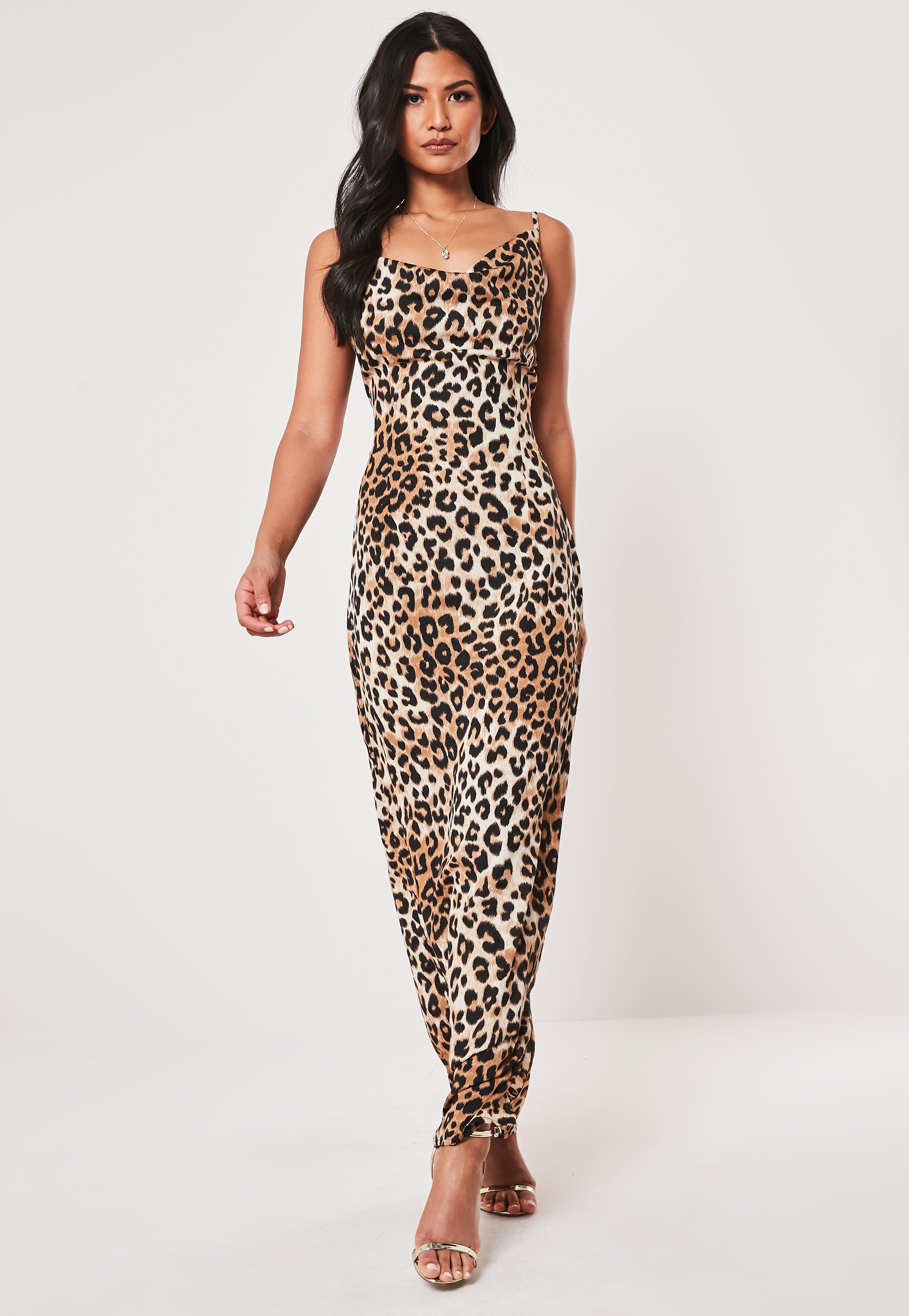 3674884c39d1f Shoptagr | Petite Brown Cowl Back Leopard Print Maxi Dress by Missguided