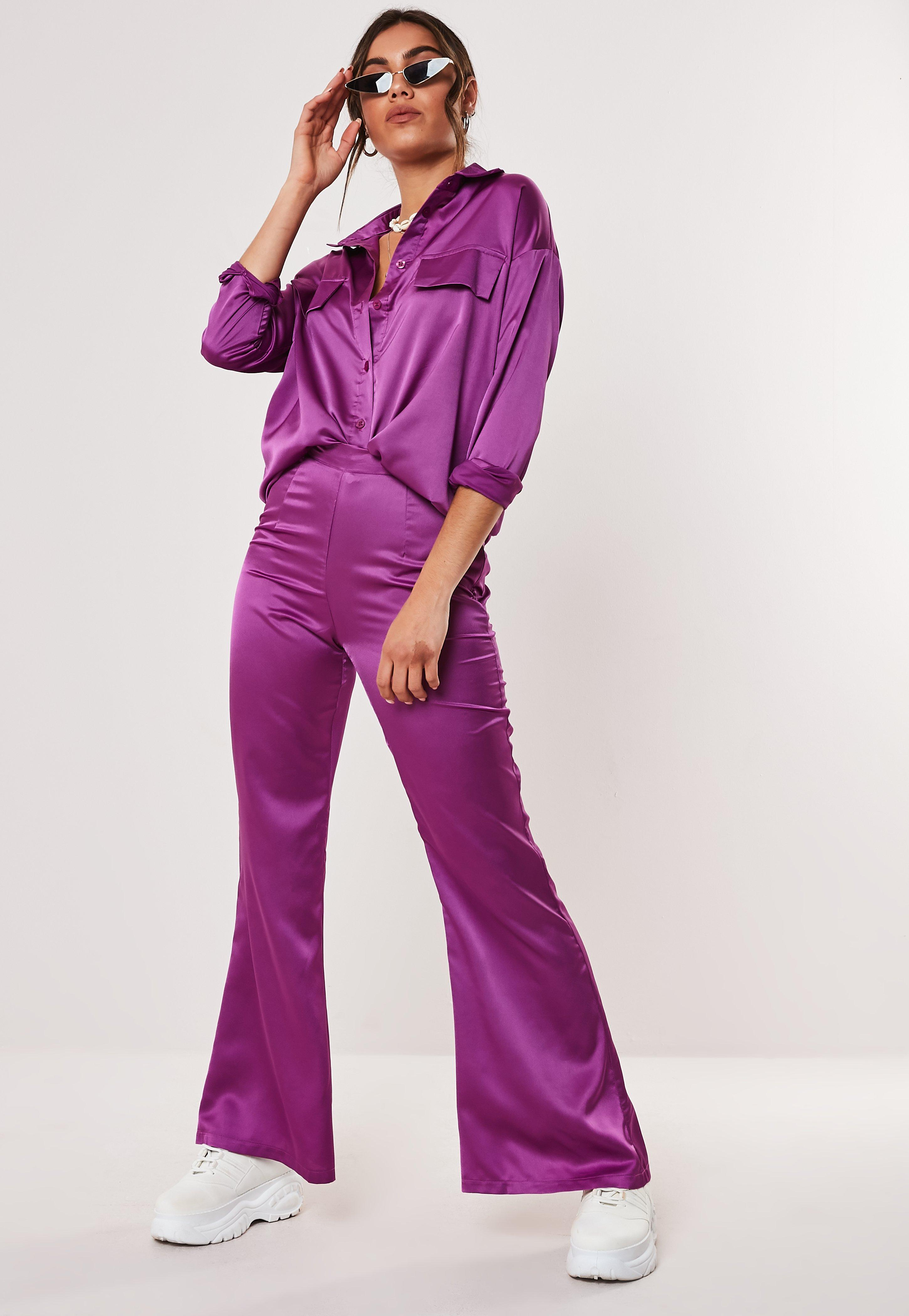 online shop top-rated newest unique style Petite Purple Co Ord High Waisted Flared Trousers