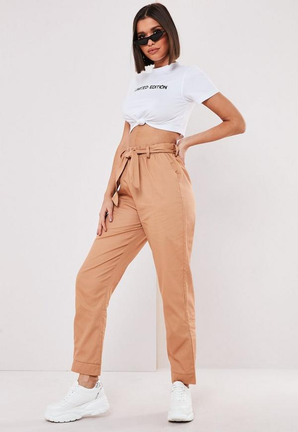 Petite Tan Tie Cuff Cargo Pants