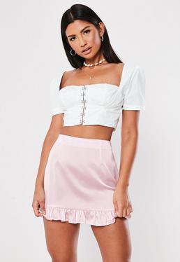 8cc59e80bbfa ... Petite Pink Satin Frill Hem Mini Skirt
