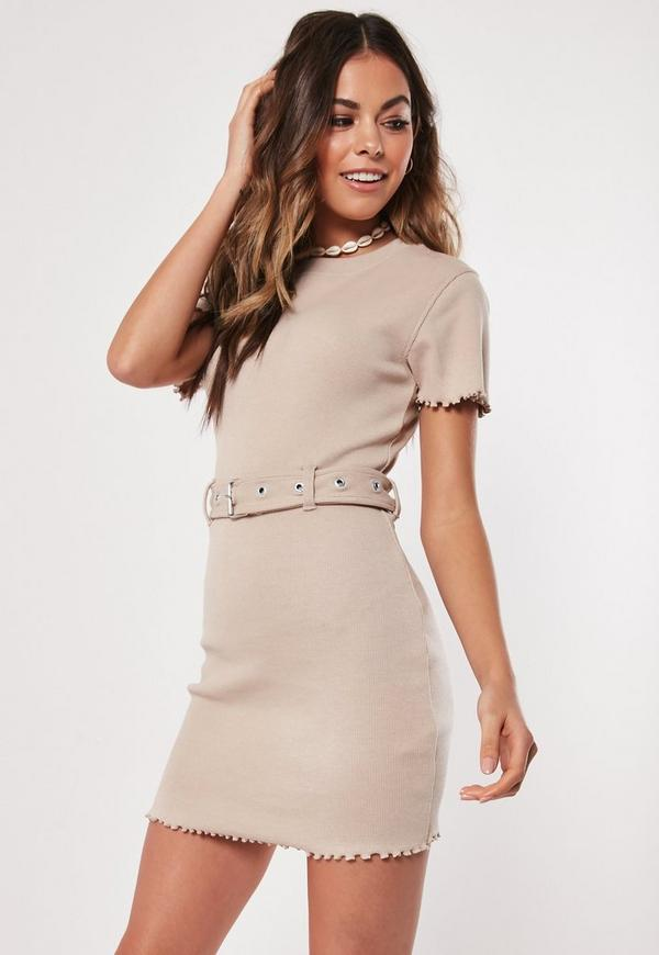 Petite Stone Ribbed Belted Mini Dress
