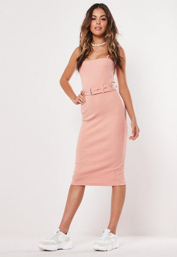 Petite Pink Strappy Belted Ribbed Midi Dress