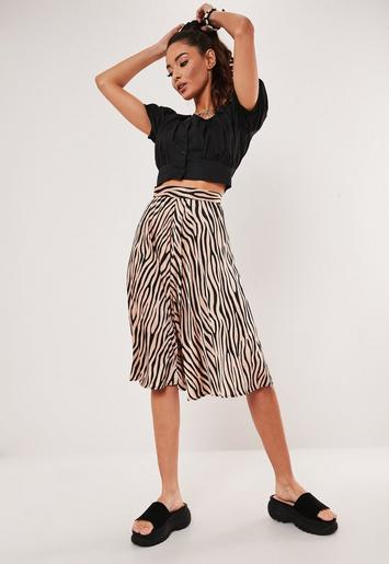 Petite Brown Tiger Print Satin Pleated Midi Skirt by Missguided