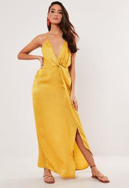 886dea0b093 ... Petite Mustard Satin Twist Cami Maxi Dress